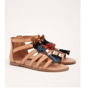 Torrid pom Pom gladiator ankle strap flat sandals